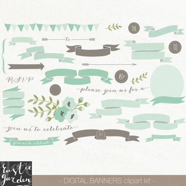 62 mint and brown banner clipart png scroll ribbon and floral digital clip art for wedding invitations clipart for small commercial use 2239219 weddbook