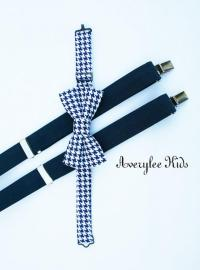 Boys Navy Blue Suspenders And Navy Blue Houndstooth Bow ...