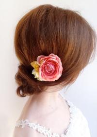 Coral Flower For Hair, Bridal Hair Clip, Flower Girl Hair ...