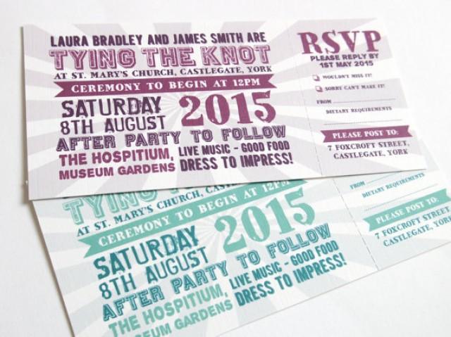 Festival Wedding Invitation With Rsvp Card Ticket