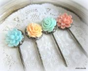 floral hair pins bridesmaids turquoise