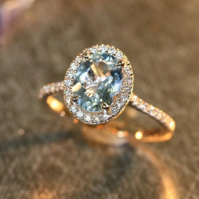 Halo Diamond And Aquamarine Engagement Ring In 14k Rose