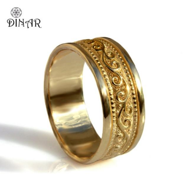Scrolls 18k Yellow Gold Wide Wedding Band Unisex Gold