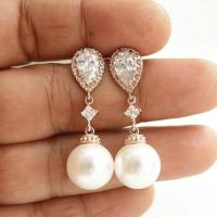 Pearl Rose Gold Earrings Wedding Jewelry Cubic Zirconia ...