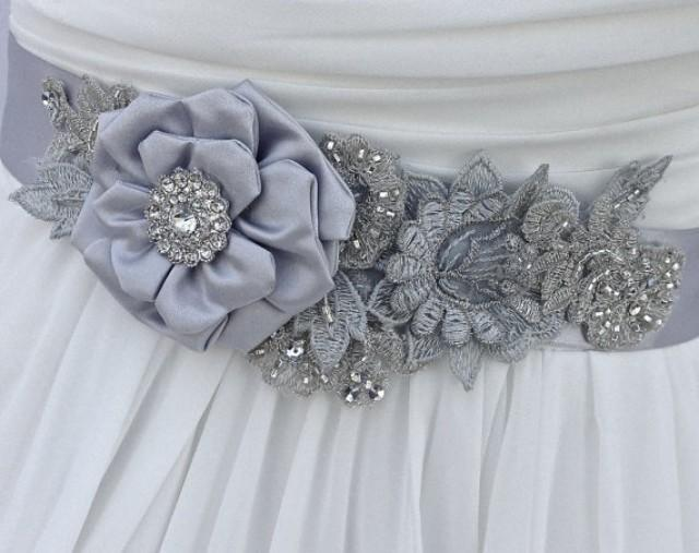 Bridal Sash, Wedding Sash In Platinum, Silver And Blue