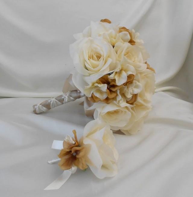 Wedding Silk Flower Bridal Bouquet Your Colors 2 Pieces