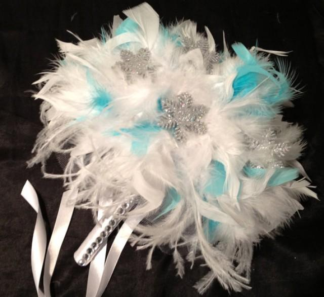 WINTER WEDDING Aqua Blue And White Ostrich Feather