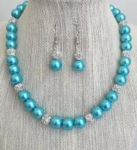 Aqua Blue Bridesmaid Pearl Necklace Set, Turquoise Blue ...