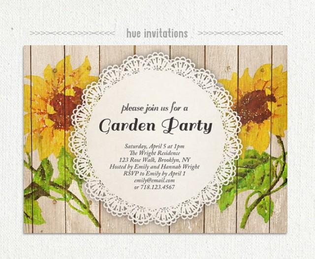 Sunflower Garden Party Invitation Watercolor Sunflower
