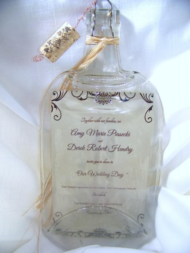 LARGE Personalized Melted Wine Bottle Wedding