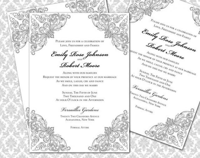 DIY Wedding Invitation Printable Template (5x7 Invitation