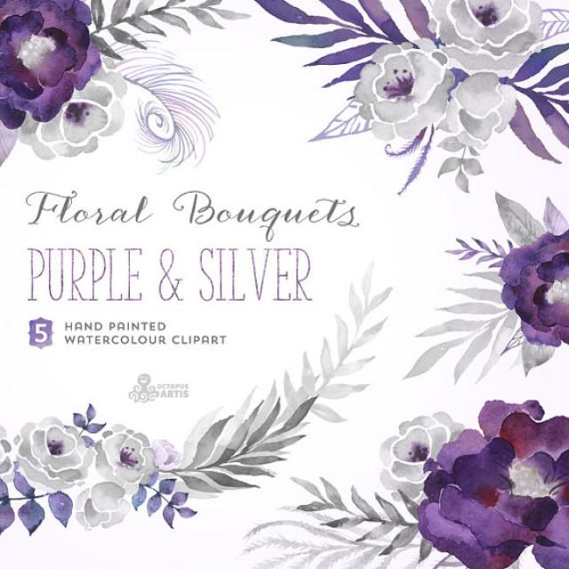 Purple Amp Silver Floral Bouquets Digital Clipart Hand