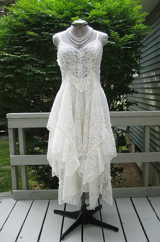 Off White Alternative Bride Tattered Boho Gypsy Hippie