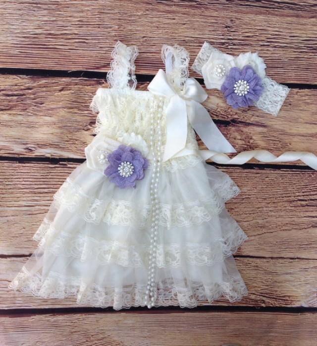 Ivory Cream Lavender Lace BurlapToddler Baby Girl Dress
