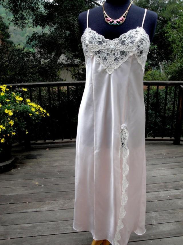 Vintage Lingerie Pale Pink Satin And Ivory Alencon Lace