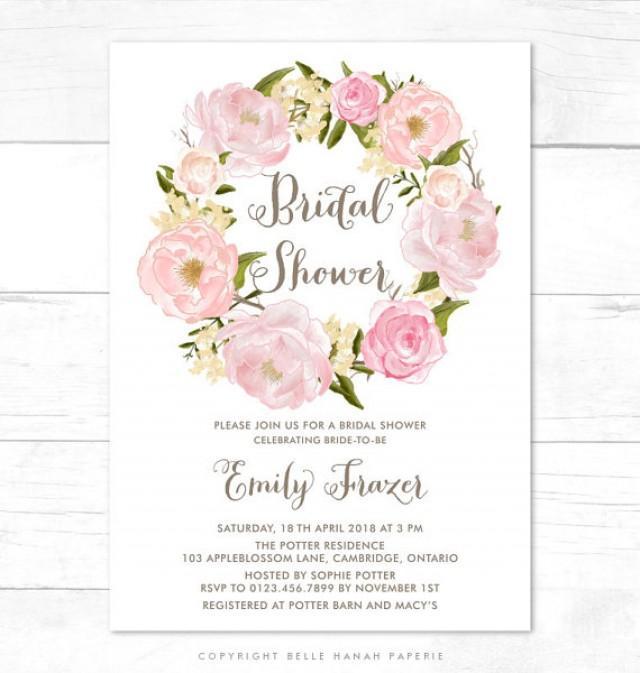 PRINTABLE Invitation Blush Pink Flowers Wreath Bridal