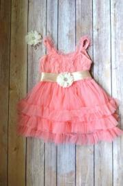 coral tulle flower girl dress hair