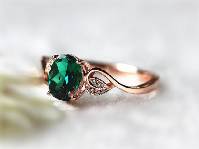 6x8mm Oval Emerald Ring Diamond Treated Emerald Wedding