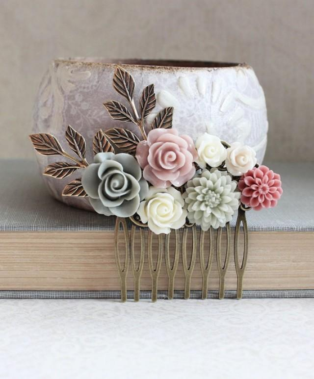 Floral Bridal Hair Piece Dusty Rose Pink Hair Accessories