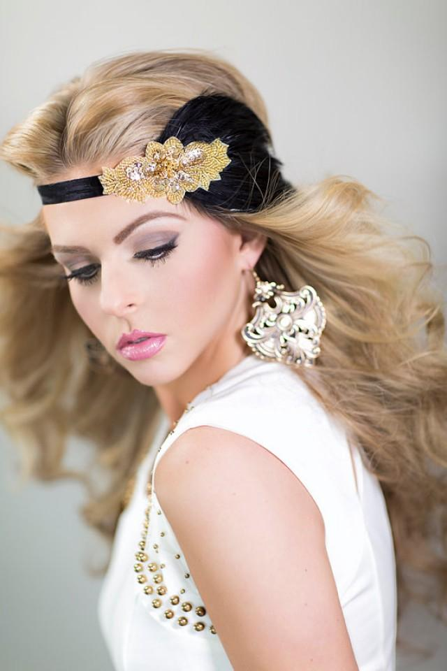 Gatsby Headpiece In Black Gold 1920s Hair Accessory Gold
