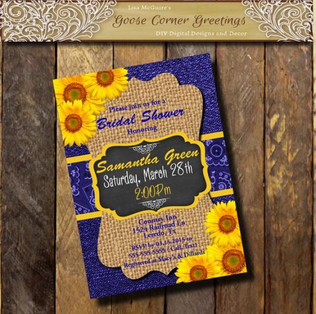 Denim  Burlap SUNFLOWER Invitation Cobalt Blue Yellow Couples Bridal Baby Shower Invitation