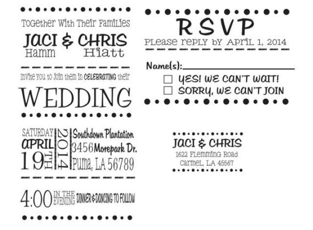 Wedding Invitation Rubber Stamp Set For DIY Wedding