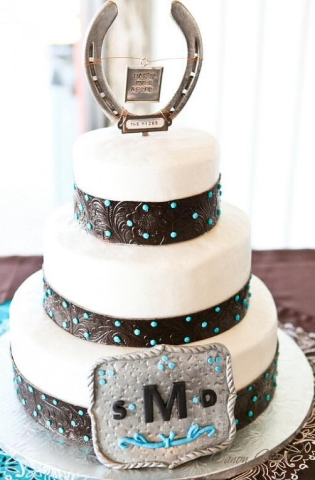 Personalized Horseshoe Wedding Cake Topper Western