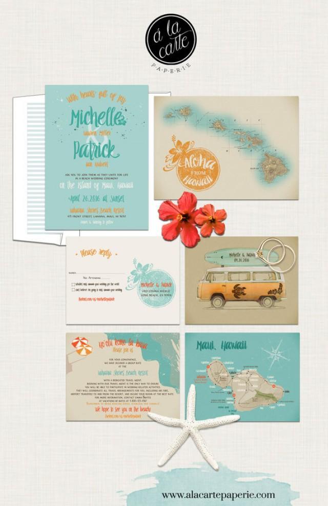 Hawaii Wedding Invitation Maui Wedding Retro Bus