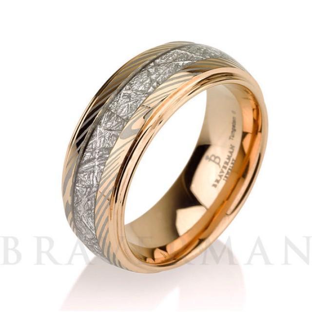 Mokume Meteorite Wedding Band Meteorite Ring14k Rose
