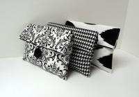 Black And White Bridesmaid Clutch Set Of 3 Black And White