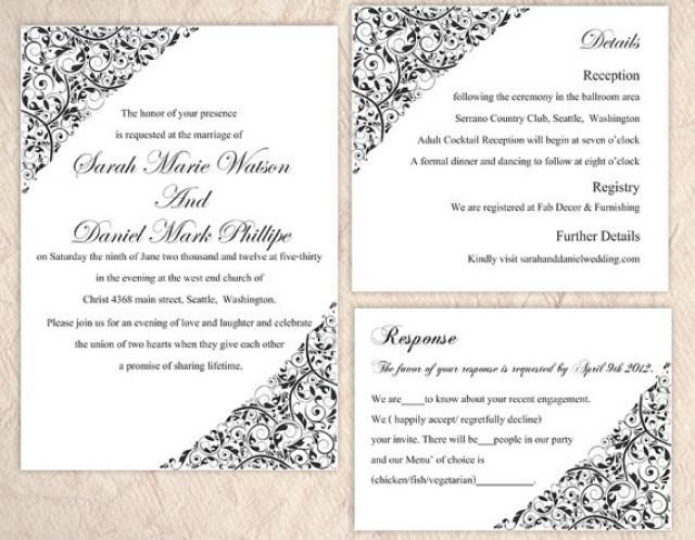 Diy Wedding Invitation Template Set Editable Word File Instant Download Printable Invitation Black Wedding Invitation Elegant Invitation 2377858 Weddbook