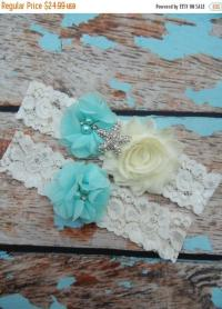 ON SALE GARTER / Beach Wedding Garter / Aqua Garter Set ...