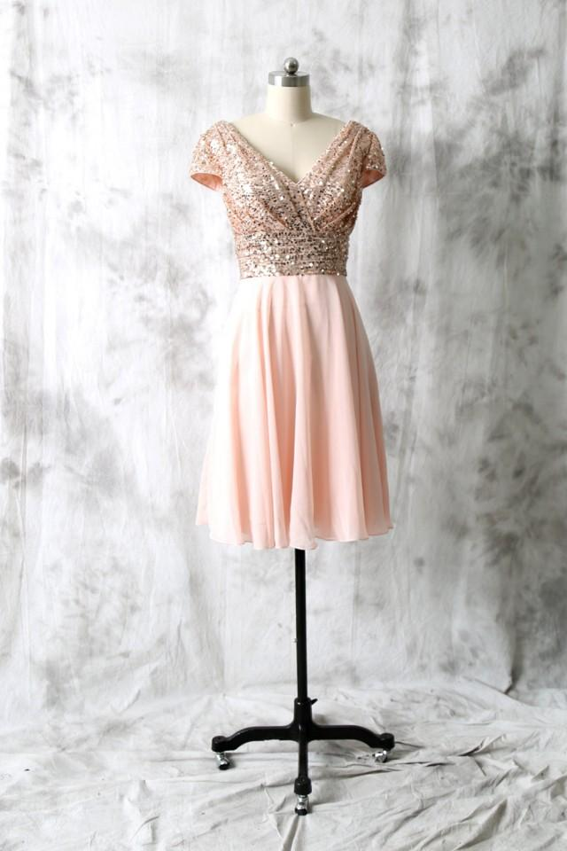 Cocktail Dress, Rose Gold Sequin Chiffon Bridesmaid Dress
