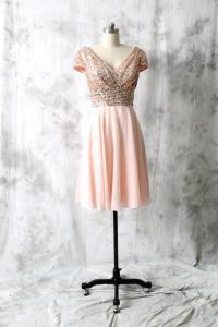 Cocktail Dress, Rose Gold Sequin Chiffon Bridesmaid Dress