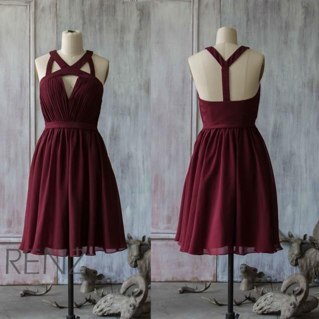 2015 Wine Bridesmaid Dress Chiffon Red Dress Party Dress