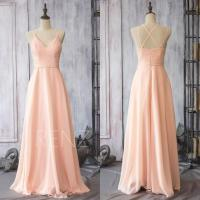 2015 Peach Chiffon Bridesmaid Dress, Blush Pink Wedding ...