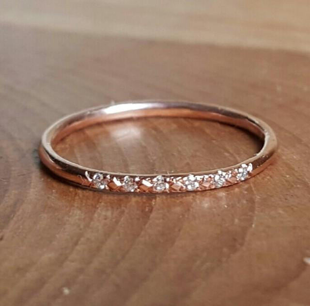14K Pink Gold Pave Diamond Ring 14K Stacking Rings 14K