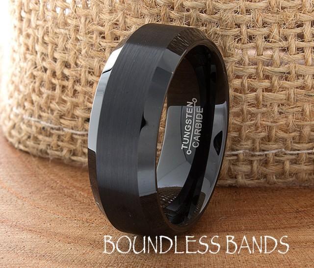 Black Tungsten Band Beveled 8mm Custom Laser Engraved