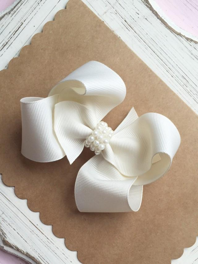 Flower Girl Bow Boutique Hair Bow WhiteIvory Hair Bow