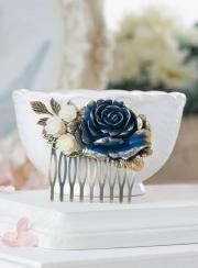 blue wedding hair comb