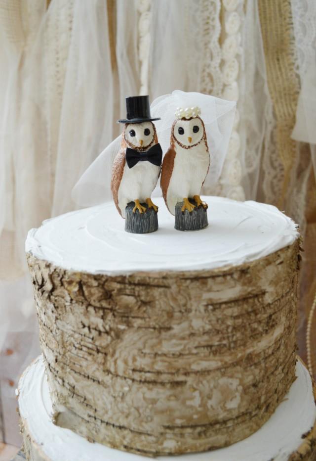 Owls Wedding Cake Toppersnow Owlbarn Weddingbride Groom