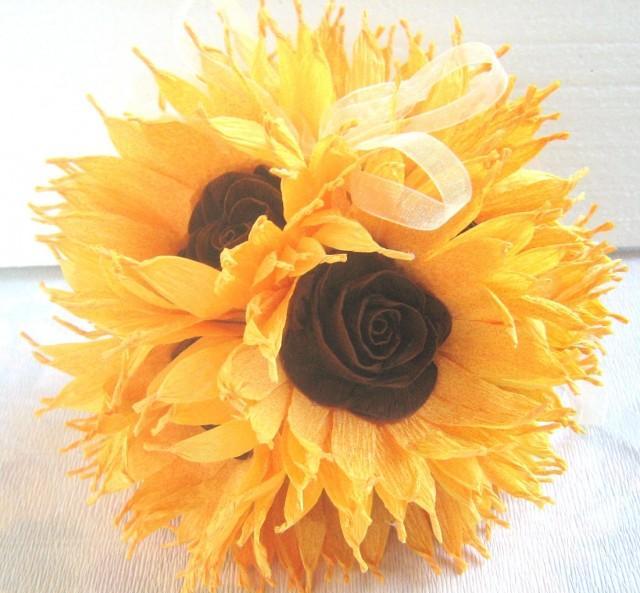 Sunflower Wedding Hanging Crepe Paper Flower Balls