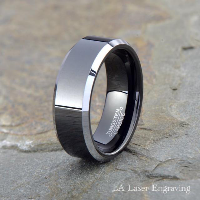 Tungsten Wedding Band Men Tungsten Wedding Ring Black