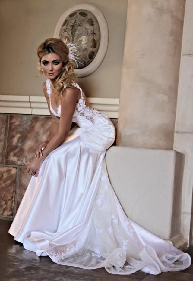 Mermaid Wedding Gown Unique Wedding Dress Open Back In