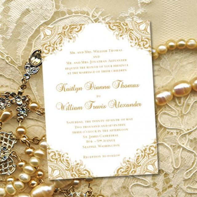 Gold Vintage Wedding Invitations Or