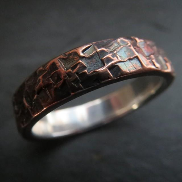 Mens Ring Wedding Unusual Rustic Steampunk Hammered Copper