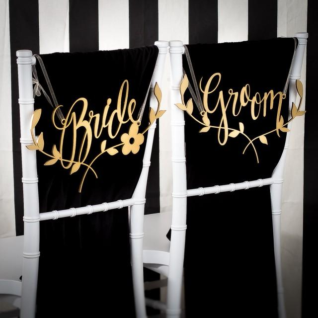 Wedding Chair Signs Decoration  Bride And Groom Chairs