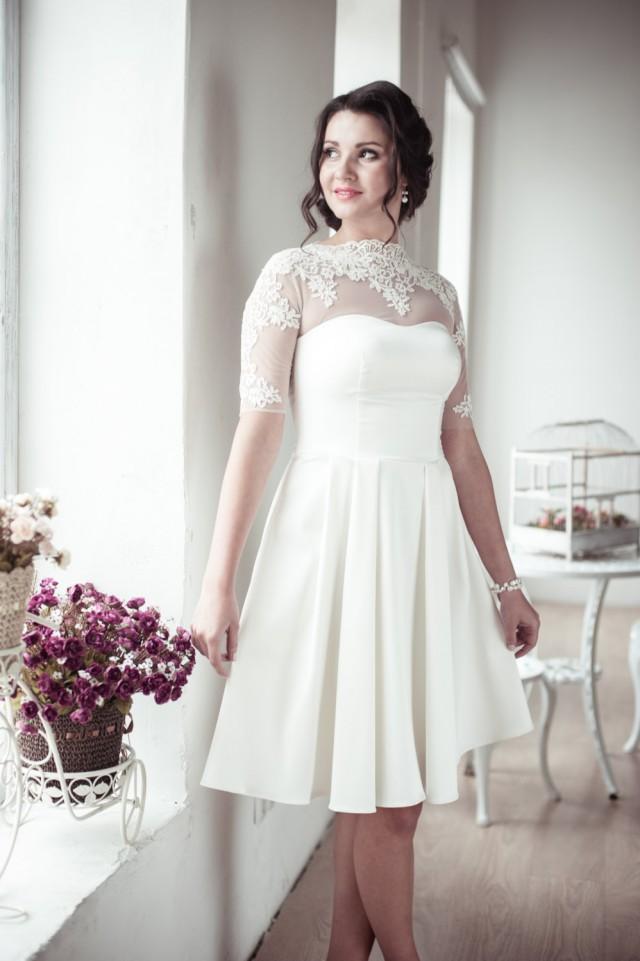 A Line Short Wedding Dress M12 Romantic Wedding Gown