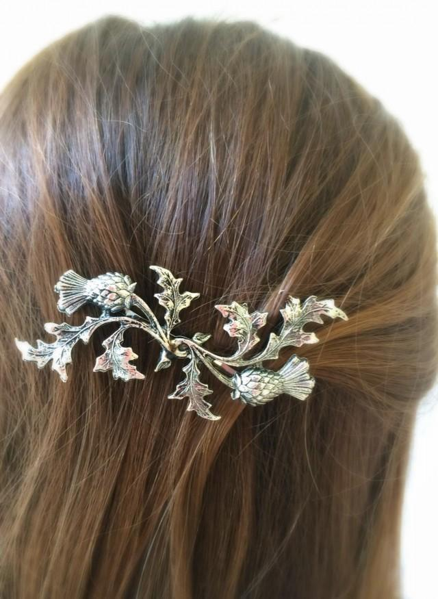 Silver Scottish Thistle Hair Pin Leaf Bobby Pin Bridal