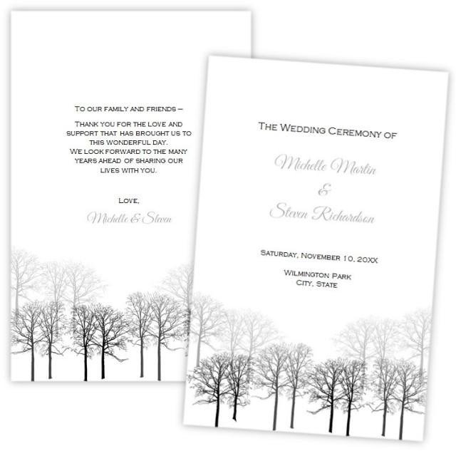 Folded Wedding Program Template, Winter Forest, DIY